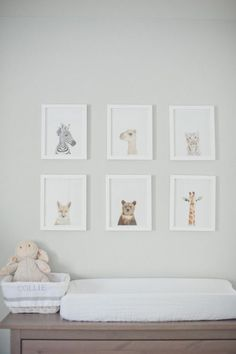Adorable nursery with Sharon Montrose The Animal Print - Baby Animal Prints over an Ikea Hemnes 8 Drawer Dresser turned changing table.