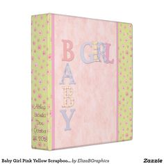 Easily add your photos for a truly personal binder. #baby #girl #pink #floral #yellow #flowers #scrapbook #album #photo #mom #dad #grandma #grandpa