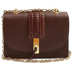 Altuzarra Ghianda braided pebbled-leather shoulder bag ($1,197) ❤ liked on Polyvore featuring bags, handbags, shoulder bags, dark brown, chain shoulder bag, chain strap purse, shoulder bag purse, dark brown handbags and chain-strap handbags