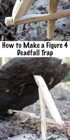 How to Make a Figure 4 Deadfall Trap ~ This simple primitive trap can be made in under an hour with a few sticks and a sharp knife. Trapping is an essential skill for backwoods bushcraft survival, and this is one of the simplest types of trap. Survival Life Hacks, Survival Food, Camping Survival, Outdoor Survival, Survival Prepping, Survival Skills, Camping Hacks, Camping Gear, Survival Weapons