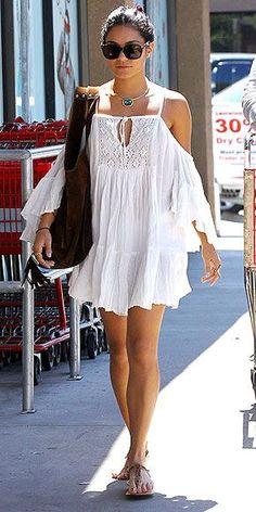 Boho vibes in this cold-shoulder crochet detailed dress. (Vanessa Hudgens):