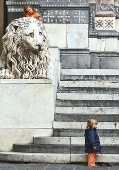Children at San Lorenzo Cathedral, Genoa, Italy