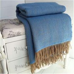 Blue herringbone wool throw with a wheat beige herringbone weave, pure new wool . A great wool blanket for warming your knees or throwing over a chair. Alice Coltrane, Blue Throws, Cotton Throws, Wool Throws, Faux Fur Blanket, Wool Blanket, Luxury Bedspreads, Luxury Bedding, Yellow Throw Blanket