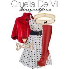 Cruella De Vil by disneywallflower on Polyvore featuring Plein Sud, Halcyon Days, Allurez, women's clothing, women's fashion, women, female, woman, misses and juniors