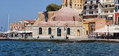 Kreta-Chania-Hassan Pascha Moschee Kirchen, Taj Mahal, Travelling, Building, Mosque, Crete, Temples, Buildings, Construction