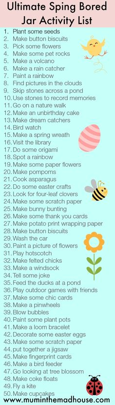 Ultimate Spring Bored Jar Activity list