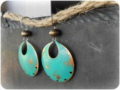 Rustic Teal Patina Dangle Earrings by Cocco Jewelry