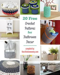 Dress up your bathroom with these 20 free crochet patterns that make for perfect bathroom decor! There are rugs, baskets, caddies and more! Crochet Gifts, Crochet Yarn, Free Crochet, Crochet Doilies, Modern Crochet, Crochet Round, Diy Bathroom Decor, Bathroom Stuff, Bathroom Ideas