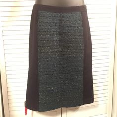 NWT $339 Tory Burch Keegan Skirt Rare Keegan skirt to beautiful blue with green front panel. Green has shimmery thread throughout. Retails for close to 350!!! Sold out everywhere!!  Item Location Bin D2 Tory Burch Skirts Pencil