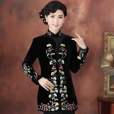 Mother's Thick Black Velour Chinese Wind Coat Full of Flowers Embroidery - iDreamMart.com