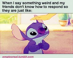 LOL gifs funny gif friends confused Awkward stitch gif omgtooreal pat pat lilo and stitch gif petting dont know what to say