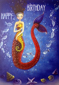 Folded card Mermaid designed by Mila Marquis by MarquisWonderland, €2.40