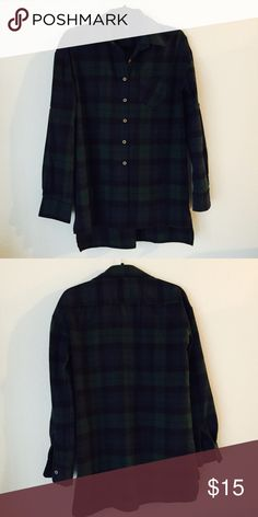 OVERSIZED flannel Navy blue & Green oversized flannel! Super comfy and cute! Tops Button Down Shirts