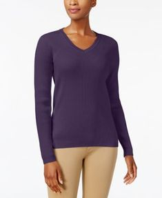 Karen Scott Cotton V-Neck Sweater, Created for Macy's - Tan/Beige XXL