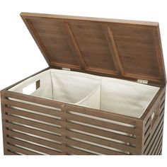 Shop Dixon Bamboo Hamper with Liner.  Bamboo goes at right angles as clean-lined, natural bathroom accessories.  Each beautifully crafted piece glows with a warm grey finish.