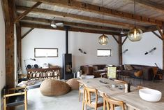 living-rooms-dark-wood-natural-beanbag-chairs-dining-chairs-dining-tables-exposed-beams