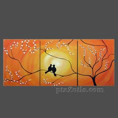 Birds in Tree Branch Painting,Large Art canvas ORIGINAL Romantic Lovers wedding gift wall decor, birds sitting on a tree