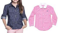 Camisa social para meninas - DIY- marlene mukai - molde infantil Polka Dot Top, Shirt Dress, Sewing, Long Sleeve, Mens Tops, Baby, Shirts, Inspiration, Women