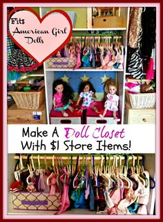 Fits 'American Girl Doll' Closet from Dollar Store items! DIY as gifts to little girls!