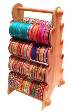 Wooden Bangle Stand - 8 Rods - Export Quality