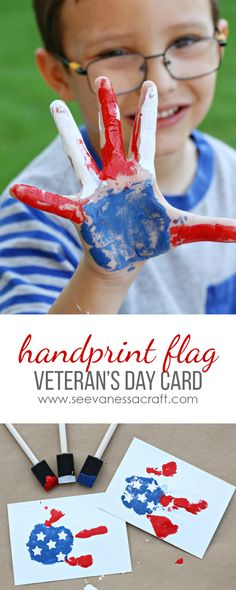 Veteran's Day Thank You Card - Red, White and Blue Handprint Flag Craft for Kids #Give2Veterans #partnersingive