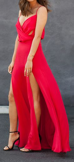 Red Double Split Gown by Song Of style Maxi Dress With Slit, Dress Me Up, Cute Dresses, Beautiful Dresses, Song Of Style, Evening Dresses, Summer Dresses, Mode Blog, Looks Chic
