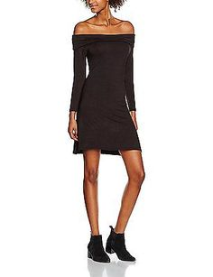 14, Black (Black), New Look Women's Fold Kick Bardot Dress NEW