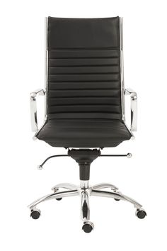 Dirk High Back Office Chair in Black with Chromed Steel Base