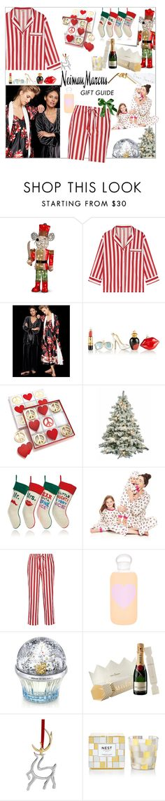 """My Neiman Marcus Holiday Wish List"" by maris-go-round ❤ liked on Polyvore featuring interior, interiors, interior design, home, home decor, interior decorating, Sleepy Jones, Oscar de la Renta, Neiman Marcus and Bombki"