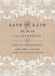 Wedding stationery inspiration - ideas for your wedding invitations. white lace and burlap vintage wedding invitations. Affordable and easy to customize! Save The Date Invitations, Vintage Wedding Invitations, Wedding Stationary, Save The Date Cards, Wedding Save The Dates, Our Wedding, Dream Wedding, Here Comes The Bride, Marry Me