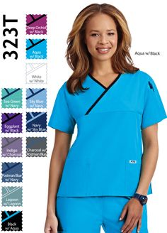 Criss Cross Ladies Scrub Top A simple twist on a classic style. A v-neck scrub top with a criss cross contrast trim. This top features two lower pockets and one shoulder pen pocket. Fabric is Poly/Cotton. So many prints and solid colors to choose from. Green Sky, White Sea, Scrub Tops, Criss Cross, Scrubs, Solid Colors, Classic Style, Contrast, Long Sleeve Tees