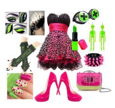"""""""Neon Pink & Green"""" by mandurugo ❤ liked on Polyvore featuring Christian Louboutin, Miu Miu, Mia Bag and Barry M"""