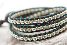Wrap leather bracelet with silver glass beads and blue thread. Triple wrap bracelet. Leather jewelry. WGR3v021