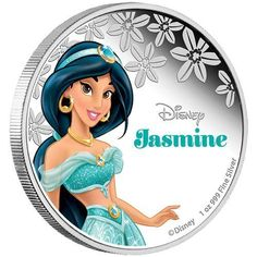 2015 1oz Silver Coin Disney Princess Series Jasmine 999 Fine Silver with Case