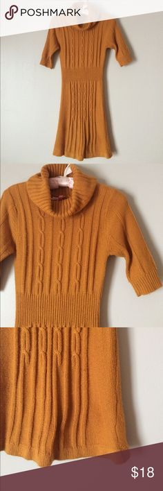 """Derek Heart dress cable knit A-line ribbed S M Derek Heart dress bright mustard gold cable knit front with ribbed waist and cuffs. Cowl neck. A-line. Synthetic material. Very good condition. Some minor pulling on back as in pic. Bust 30""""-35"""" Waist 24""""-30"""" Shoulder to hem 35"""" S M Derek Heart Dresses Midi"""