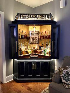 Home Bar Rooms, Diy Home Bar, Modern Home Bar, Home Bar Decor, Diy Bar, Home Bars, Small Bars For Home, Corner Bar Cabinet, Home Bar Cabinet