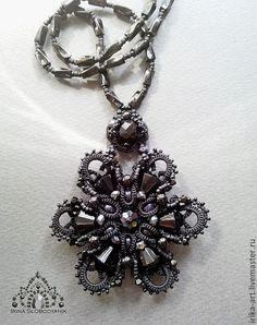 Купить Черное кружево Кулон - чёрный, черное украшение, черный кулон, черное кружево