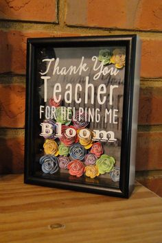 Thank You Teacher for Helping Me Bloom Shadow Box with Hand Rolled Paper Flowers… Flower Shadow Box, Diy Shadow Box, Teacher Appreciation Gifts, Teacher Gifts, Craft Gifts, Diy Gifts, Rolled Paper Flowers, Presents For Teachers, Christmas Gift Baskets