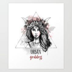 Urban Goddess Art Print by Erika Biro Goddess Art, Biro, Erika, Wiccan, Fairy Tales, Urban, Art Prints, Illustration, Artists