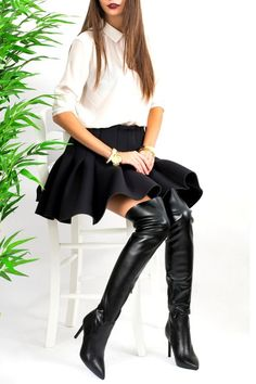 SEXY! Cizme VEGAS Peste Genunchi din Piele Stretch Heeled Boots, Leather Skirt, Thighs, Sexy Women, Footwear, Shorts, Fashion, High Heel Boots, Moda