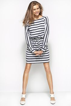 Sukienka w paski al23 - szary/biały/granat - alore_pl - Sukienki