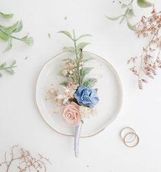 Blue Boutonniere, Groomsmen Boutonniere, Blush Flowers, Fake Flowers, Wedding Flowers, Wedding Bouquets, Flower Hair Pieces, Flower Hair Clips, Flower Headpiece