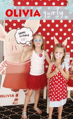 Olivia the Pig Party {Real Party}... Love the snout on a stick!
