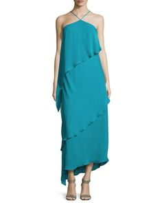 Halston Heritage, Neiman Marcus, Halter Gown, Floor Length Gown, Silk Gown, Designing Women, Evening Gowns, Fashion Dresses, Maxi Dresses