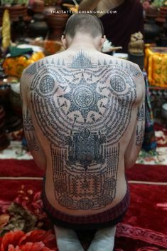 Sak Yant in Chiang Mai - A full back authentic Sak Yant designed and done by a very gifted monk who has been practicing Sak - Hindu Tattoos, Symbolic Tattoos, Body Art Tattoos, Tribal Tattoos, Yantra Tattoo, Sak Yant Tattoo, Tatuaje Khmer, Chiang Mai, Knitting Tattoo