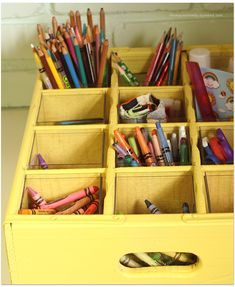 use for old soda crate, with perfect container store plastic boxes to line cubbies