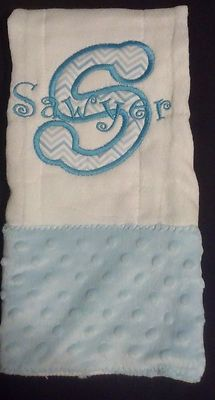 Custom Appliqued Monogrammed Burp Cloth - Minky Dot, $9.00