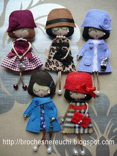 BROCHES NEREUCHI: Broches muñequitas