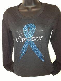 Teal SURVIVOR  ribbon LS burnout  Cancer by BlingIsTheNewBlack, $52.00
