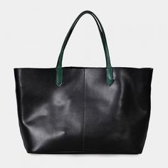 Two-tone leather tote